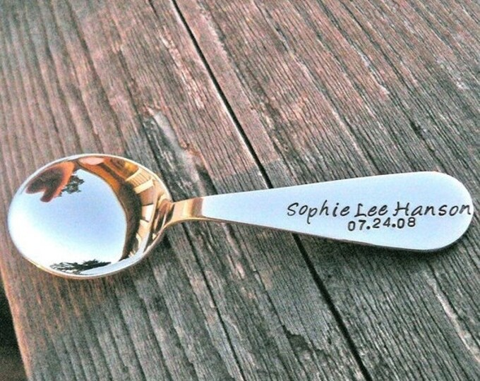 BLACK FRIDAY SALE - Custom Stamped Solid Sterling Toddler Spoon
