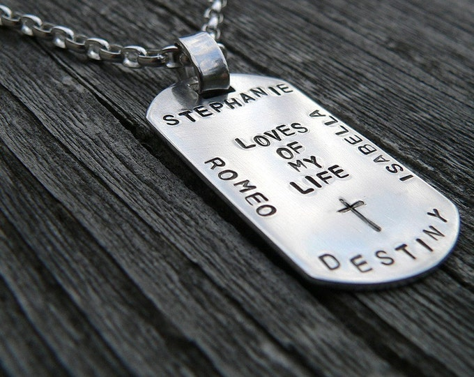 Custom Thick Sterling Silver Men's Dog Tag Dogtag Necklace - personalize with your own names, dates, or words, Choose Font and Message
