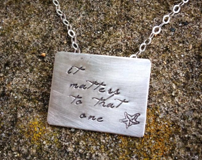 The Starfish Story Necklace - Square Poetry Version All Solid Sterling Silver - A Wonderful Gift - Comes with Story Card