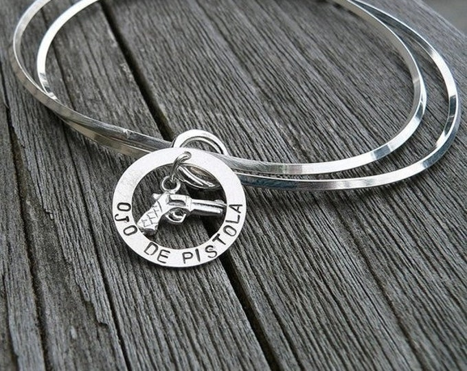 BLACK FRIDAY SALE - Unique Double Bangle with Pistol Charm - Ojo de Pistola - Solid Hand Stamped Sterling Silver - Great Gift