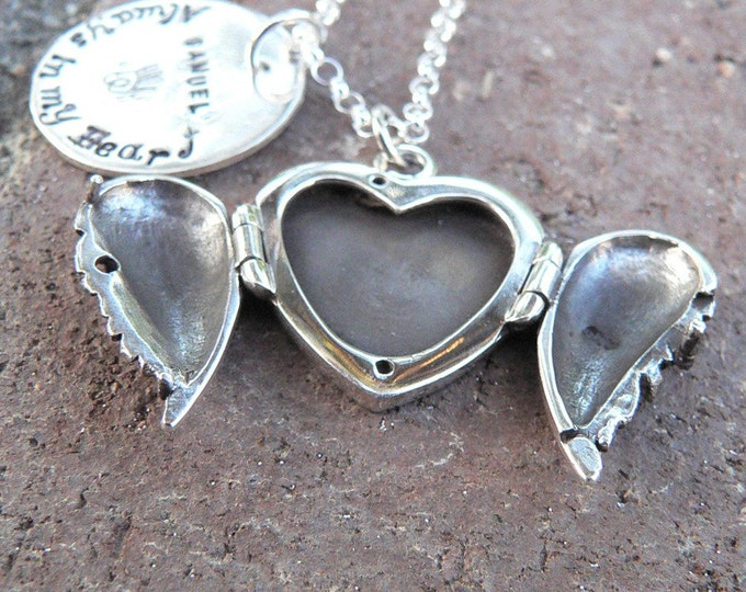 Wings of My Heart - Solid Sterling Silver Hand Stamped Necklace & Winged Locket - Customize Your Message - Choose Fonts
