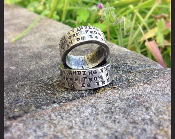 HIS + HERS - Custom WIDE Sterling Silver Hand Stamped Rings Set - Couples Rings - Artisan Fonts - Can Be Customized Inside &/or Outside