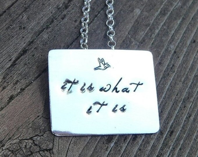 BLACK FRIDAY SALE - Solid Sterling Silver Forged Pendant, Custom and Personalized on Both Sides, Choose your Font and Style, Finish.  Name,