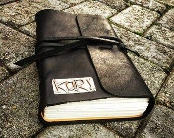 BLACK FRIDAY SALE - Rustic Leather Hand-Bound Journal - Customized in Sterling or Copper
