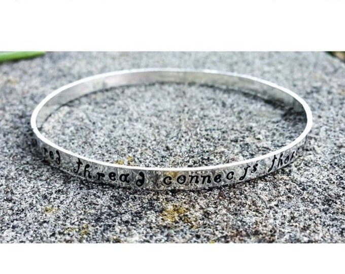 BLACK FRIDAY SALE - Solid Hand-Forged Sterling Silver Bangle Bracelet - Personalized Inside or Outside - Choice of Many Fonts and Finishes -
