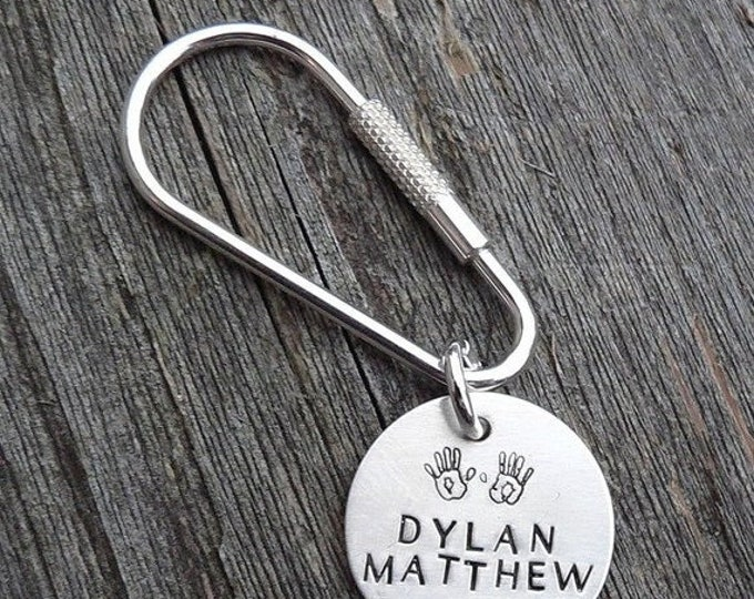 BLACK FRIDAY SALE - Custom Hand Stamped Solid Sterling Silver Keyring Key Ring and Fob - Classy & Durable - Choose Font, Symbols, Message -