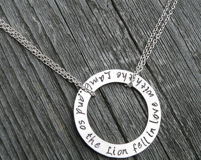 Custom Artisan Washer Necklace - Secret Message Necklace - Solid Sterling Silver - Choose your Font, Phrase or Names or Words - Unique Gift