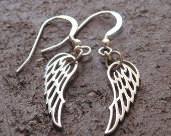 Detailed Wing Earrings - Solid Sterling Silver - Perfect and Classy Gift - Choice of Earwire or Leverback - Remembrance - Loss - Hope