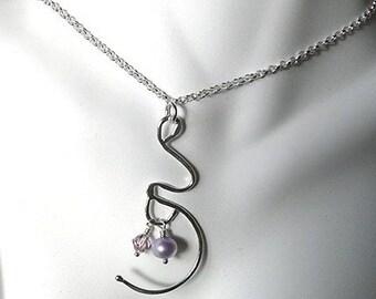 BLACK FRIDAY SALE - Expectation. A Pregnancy or Birth Necklace.  Solid Sterling Silver with Genuine Gemstone Birthstone, Swarovski Crystal,