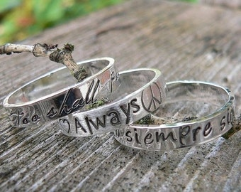 BLACK FRIDAY SALE - 3 Stacked Custom Solid Sterling Silver Set of Stackable Hand Stamped Rings - You Choose Font & Finish - Your Message or