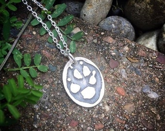 BLACK FRIDAY SALE - Solid Sterling Oval Charm Pendant Customized  Actual Handprint likeness - Footprint too - Hand Print Foot Print Paw Prin