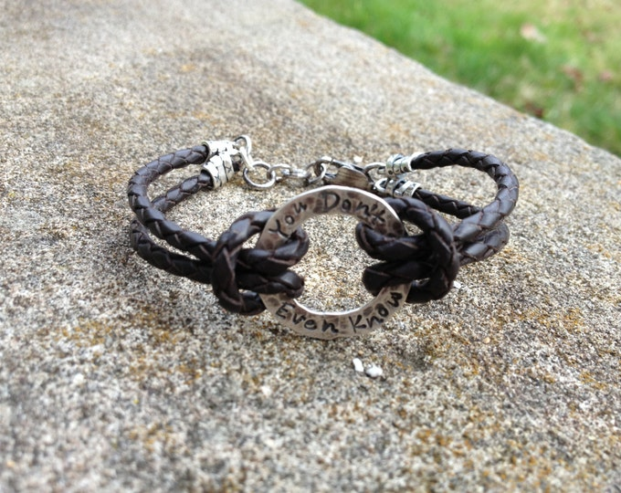 Rustic Men's or Unisex Sterling Silver and Latigo Leather Bracelet - Hand Stamped with Choice of Font and Finish - High Quality - Any Size