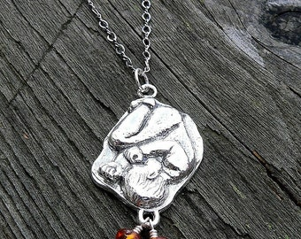 In The Womb.  A Solid Sterling Silver Pregnancy Necklace.  A substantial piece that makes a wonderful birth memorial.  Midwife or Doula Gift