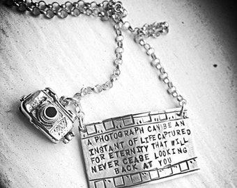 BLACK FRIDAY SALE - Capture Life - Solid Sterling Silver Filmstrip Photography Necklace with Openable Camera - hand stamped and rustic - can