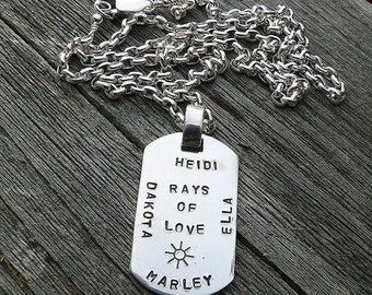 BLACK FRIDAY SALE - Custom Thick Sterling Silver Men's Dog Tag Dogtag Necklace - personalize with your own names, dates, or words, Choose Fo
