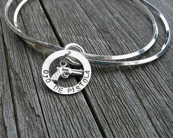 Unique Double Bangle with Pistol Charm - Ojo de Pistola - Solid Hand Stamped Sterling Silver - Great Gift