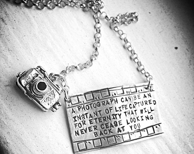 Capture Life - Solid Sterling Silver Filmstrip Photography Necklace with Openable Camera - hand stamped and rustic - can be personalized