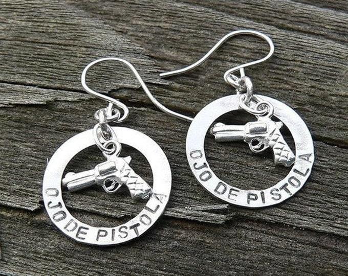 BLACK FRIDAY SALE - Ojo De Pistola Earrings - Solid Sterling Silver - Choice of Earwire or Leverback - Fun Gift Item