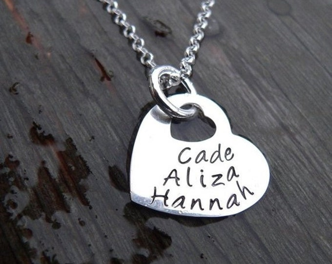 BLACK FRIDAY SALE - Heart Within My Heart - Solid Sterling Silver Personalized Hand Stamped Necklace - Choose from 40 Fonts, Your own Words/