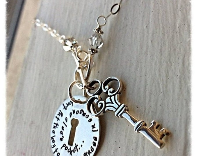 BLACK FRIDAY SALE - Custom Sterling Silver and Crystal Key and Keyhole Necklace