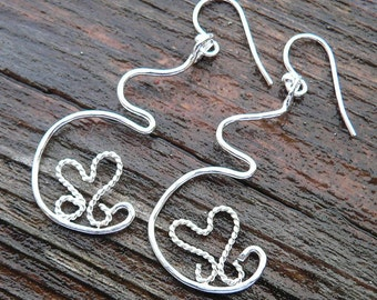 Dancing Heart Pregnancy Earrings - Solid sterling silver - Handcrafted & Unique - Midwife, doula or doctor gift - Birth Newborn Shower Gift