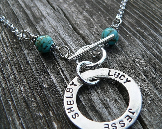 Solid Sterling Silver Circle Necklace Washer Necklace w Turquoise Beads - Hand Stamped Font Choice Your Names Message Words - Mother Mom Mum