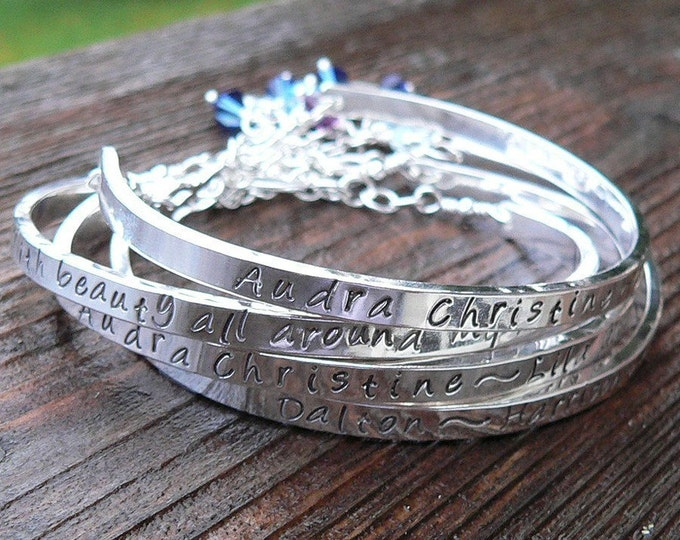 Birth Designs -Stamped Sterling Silver Cuff Mothers Bracelet or Custom Message Cuff Bracelet Hand Stamped Inside or Outside