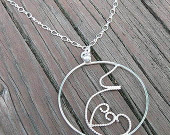 Fluttering Love... A pregnancy necklace. Hand Forged Sterling Silver, Each One Unique, Choice of Finish and Length. Midwife or Doula Gift.