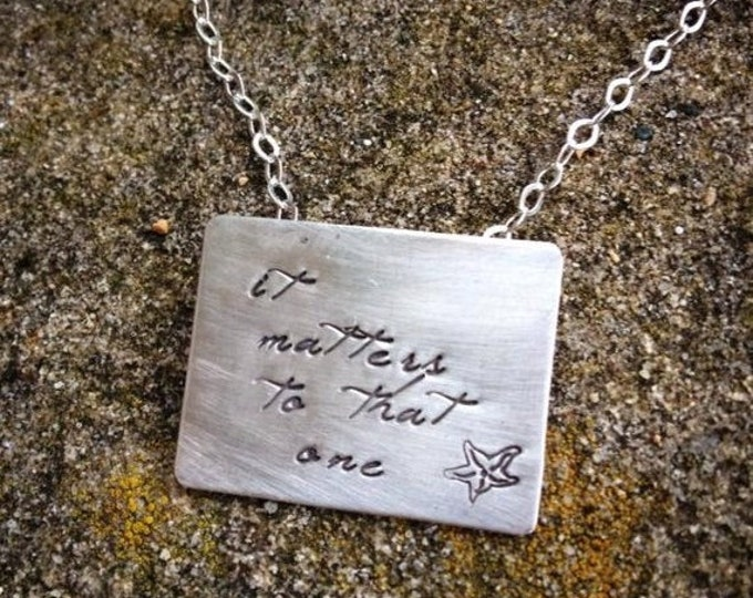 BLACK FRIDAY SALE - The Starfish Story Necklace - Square Poetry Version All Solid Sterling Silver - A Wonderful Gift - Comes with Story Card