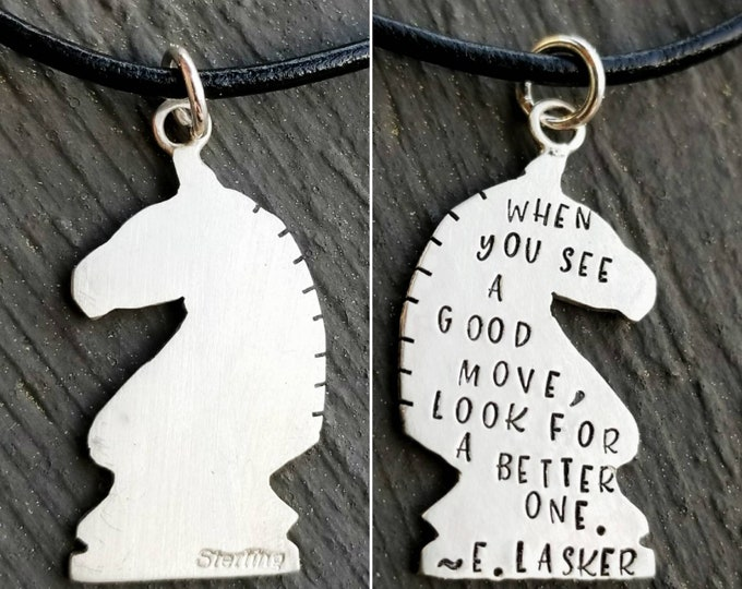 Petite Detailed Solid Sterling Silver Shape Necklace - Pendant Cutout - Any shape - Chess Piece - Knight - Custom Phrase - Personalized Gift