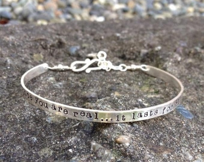 BLACK FRIDAY SALE - Custom Stamped Sterling Silver Phrase Bracelet Clasp Cuff - Adjustable - Your Own Message and Font - Hand Stamped Inside