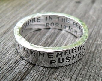 BLACK FRIDAY SALE - Artisan Custom Hand Stamped thick Ring - Solid Hand-Forged Sterling Silver - Your Message - Inside And Outside - Choice