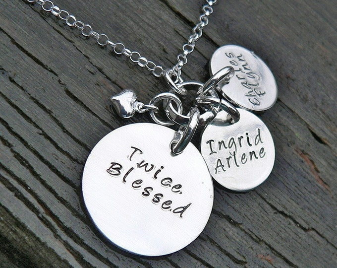 Twice Blessed...a mother's necklace.  A thick, quality sterling silver piece.  Choose Custom Name Charms, Personalized.  Excellent Quality.