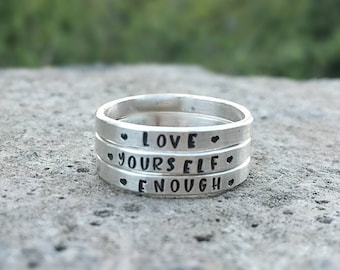 Custom Hand Stamped Posey Ring Solid Sterling Silver Stackable Stacking Stackable Message Words - Inside OR Outside - Choose Font Name Names