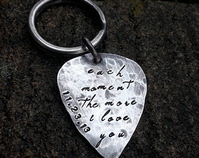 Hand-finished Solid Sterling Silver Guitar Pick - playable - Choice of Fonts, Finishes - Your Own Message. Keychain