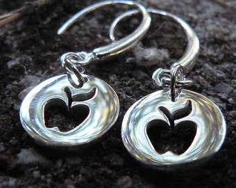 BLACK FRIDAY SALE - Cute Apple Cutout Earrings - Solid Sterling Silver - Perfect and Classy Teacher Gift - Choice of Earwire or Leverback