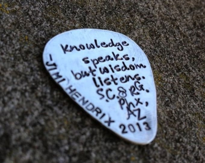 BLACK FRIDAY SALE - Hand-finished Solid Sterling Silver Guitar Pick - Playable - Genuine - You choose font, design and finish - Your message
