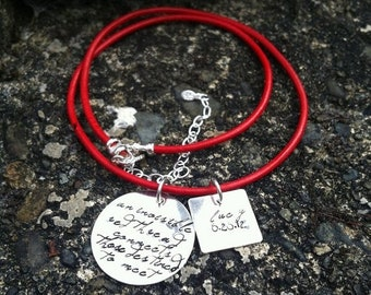 BLACK FRIDAY SALE - An Invisible Red Thread Adoption Necklace Personalized Solid Sterling Silver Hand Stamped Red Leather Or Sterling Chain
