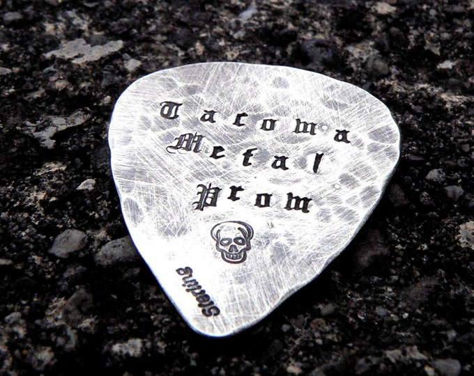 Hand-finished Solid Sterling Silver Guitar Pick - playable - Choice of Fonts, Finishes - Your Own Message. Can Stamp Both Sides. HandStamped