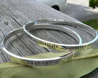 BLACK FRIDAY SALE - Solid Sterling Silver Bangle - Thick and Strong - Hand Stamped Inside and/or Outside - Your Own Message - Phrase - Many