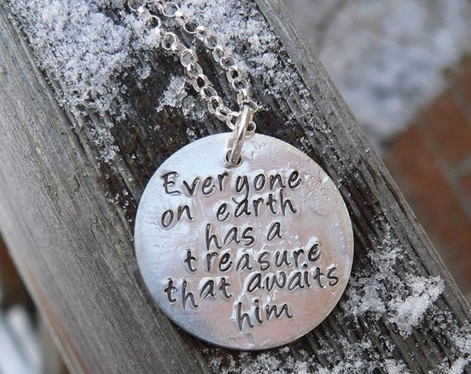 BLACK FRIDAY SALE - Custom Artisan 2-sided Thick Disc Necklace Personalized Phrase or Message Solid Sterling Silver Hand Stamped Choose from