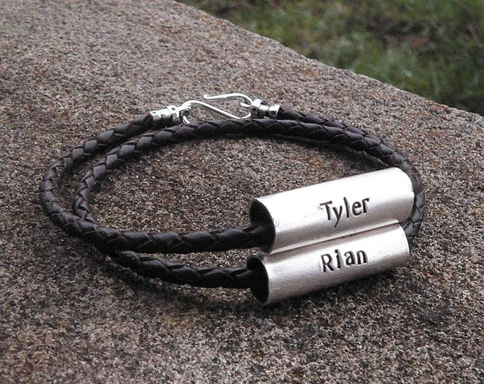 "Men's Latigo and Sterling Silver ""Tube"" Double Wrap Bracelet - Custom Message or Names - Many Font Choices - Rustic and Durable"