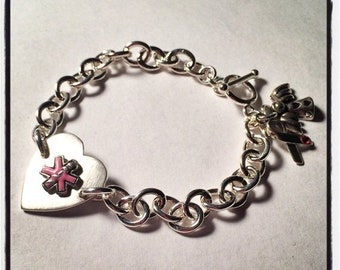 BLACK FRIDAY SALE - Classy, thick medical alert bracelet - solid sterling silver with breast cancer ribbon charm - strong and beautiful - ch
