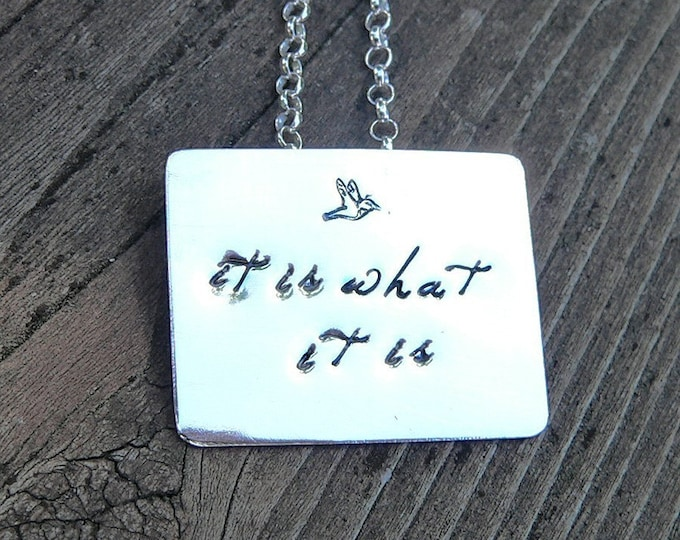 Solid Sterling Silver Forged Pendant, Custom and Personalized on Both Sides, Choose your Font and Style, Finish.  Name, Names, Hand Stamped