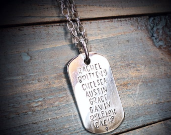 Custom Thick Sterling Silver Men's Dog Tag (Dogtag) Adoption Necklace Personalize with your own sentiment or use ours - many fonts available