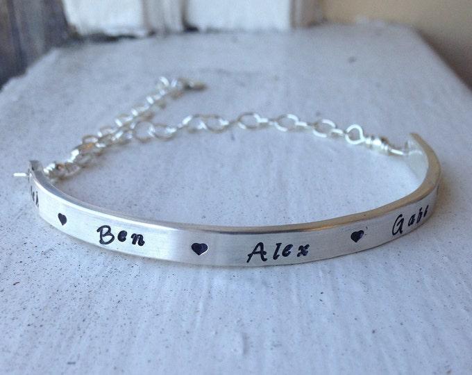 Custom Artisan Sterling Silver Women's Demi Bracelet - Minimalist - Classy - Adjustable - Choose font & Finish - Cuff - inside or outside