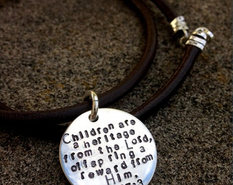 Hand-finished and Artisan Forged Thick Sterling Silver Disc and Leather Necklace, Choose Your Own Message, Font, and Finish.  Wonderful Gift