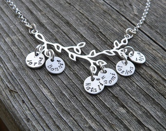 Branches of My Family... Solid Sterling Silver Mother or Grandmother Necklace... Choose Font, Up to 12 Names.. Hand Stamped  Amazing Gift
