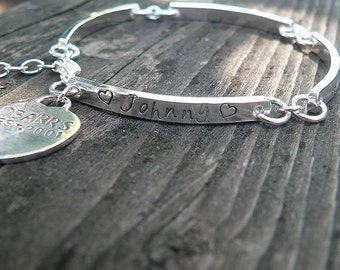 Stamped Sterling Silver Hand Hewn Link Bracelet with Heart Charm - Thick - Customize Words, Font - Message Bracelet - Forever quality