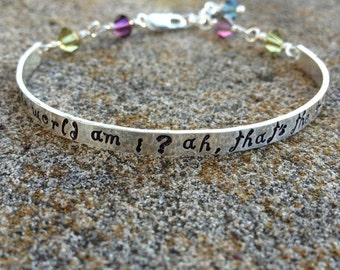 Whimsical Custom Stamped Sterling Silver Phrase Bracelet Clasp Cuff - Adjustable - Your Own Message  - Hand Stamped w Swarovski Crystals